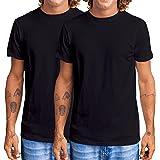Men's T-Shirt 2-Pack (Black T-Shirt x 2) - 100% Organic Cotton Slim Fit T-Shirts, Non Itchy, Men's Plain T-Shirts Multipack (