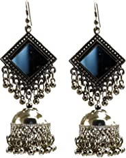 Cardinal Silver Oxidised Afghani Tribal Latest Design Stylish Earring for Women/Girls