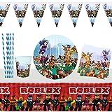 Yisscen Vajilla de Fiesta Roblox Cumpleaños Fiestas Decorar Suministros Platos Servilletas Tazas Pajitas Mantel Pancarta 52 P