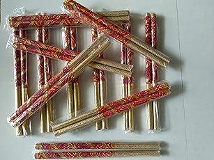 Rajcrafts Wooden Sankheda Dandiya Sticks (Multicolor, 12 Pairs, 1.7 cm Diameter x 36 cm Length) Dandiya Bandhni Decorated Wooden Garba Sticks for Navratri Celebration Garba Dandiya Sticks for Men Women Kid