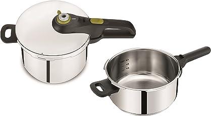 Tefal P2544337 - Satz von 2 Druckkocher (Secure Neo Induktion 5, 4 und 6 Liter, 5 Sicherheitsstufen), Silber