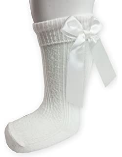 Baby Girls Infants Ribbed Knee Length Socks W stitched Bow From NB To 18 Months S41 18-24 Months, White