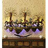 MICROTEX 7 Running Horses Iron Metall Wall Hanging (58X5X40 in)