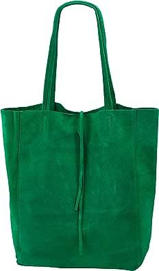 SH Leder ® Damen Echt Wildleder Shopper mit Innentasche in vielen Farben Schultertasche Henkeltasche 37x29cm Katrin G261