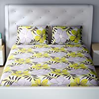 Welhome La-Piazza 130 TC Cotton Double Bedsheet with 2 Pillow Covers - Lime Yellow