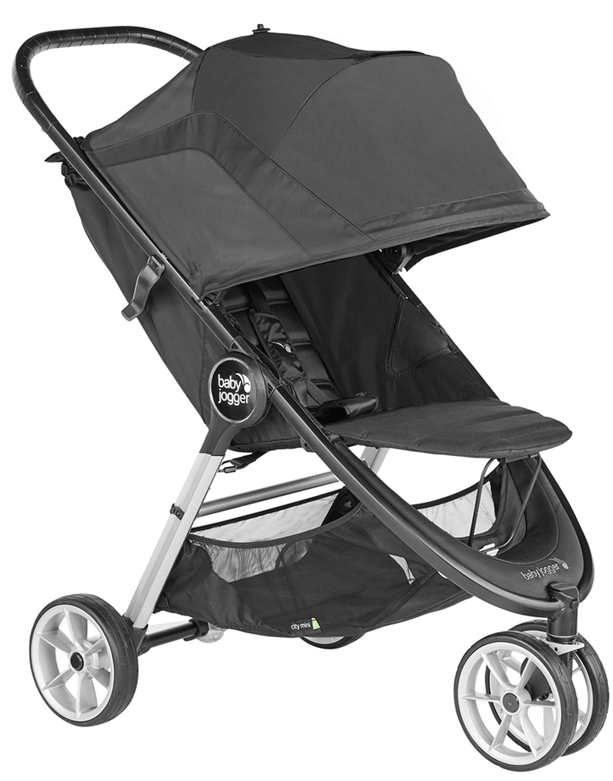 baby jogger City Mini 2 Single Stroller Jet Baby Jogger The baby jogger city mini 2 has an all new lightweight and compact design with the signature one-hand compact fold, with an auto-lock it's remarkably nimble and ready for adventure Lift a strap with one hand and the city mini 2 folds itself: simply and compactly. The auto-lock will lock the fold for transportation or storage The seat, with an adjustable calf support and near-flat recline, holds a child weighing up to 22kg and includes a 5-point stroller harness to keep them comfortable and safely secured 3