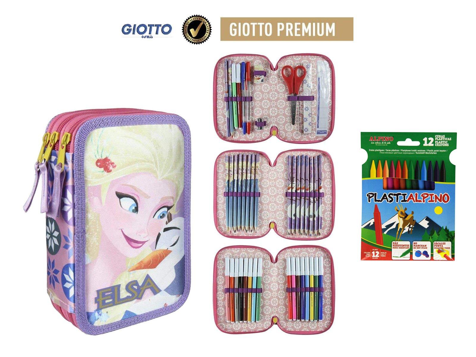 Plumier Estuche Premium de Cremallera Triple 3 Pisos Frozen – Elsa – 43 Piezas Contenido Giotto + Regalo 12 Ceras Alpino Plastialpino