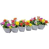 YTC Artificial Flower with Pot Plastic (Multicolour, Set of 6)