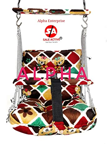 Sale Active Alpha Cotton Swings for Kids with Safety Belt (Multicolour, 1 to 4 Years)