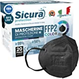 20 Mascherine FFP2 Certificate CE Nere Made in Italy con Elastici Neri logo SICURA impresso BFE ≥99% Mascherina ffp2 italiana