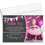 10 Personalised Girls Birthday Party Thank You Photo Cards N245 - Hearts & Bunting