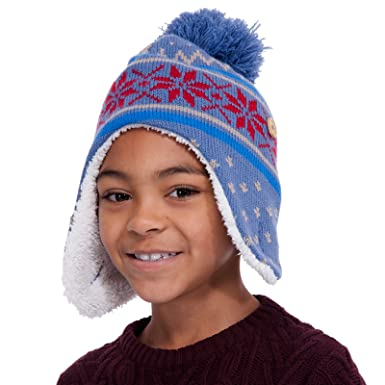 Kids Boys Girls Knitted Fairisle Hat With Sherpa Lining & Pompom ...