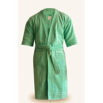 Loomkart Very Fine 100% Cotton Export Quality Bath Robes in Green in Avioni  Zip- 34fe8f557