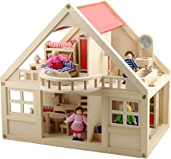 B&Julian  Groß Puppenhaus Holz mit 26 Möbel 4 Puppen und Zubehör für Kinder Zwei Etage