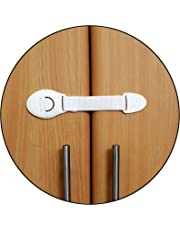 Safe-O-Kid One Side Open Long Multi-Purpose Child Safety Lock (Pack of 4, White)