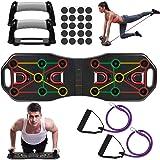 Fostoy Push Up Rack Board,9 en 1 Tabla de Flexiones y Bandas de Resistencia,Push Up Tablero Plegable y Multifuncional Equipo
