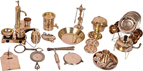 Desi Toys Vintage Miniature Brass Metal Cooking Set, Gold (42 Pieces)