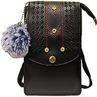 TGK Women's Mobile Phone Sling Bag Cell Phone Holder Pocket Wallet Purse Hand Clutch Handbag Crossbody Bag (Black)