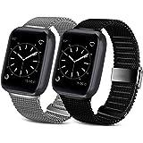 Pack 2 metallrem kompatibel med Apple Watch Strap 42 mm 38 mm 44 mm 40 mm, rostfritt stål nät metallögla med magnetiskt lås e