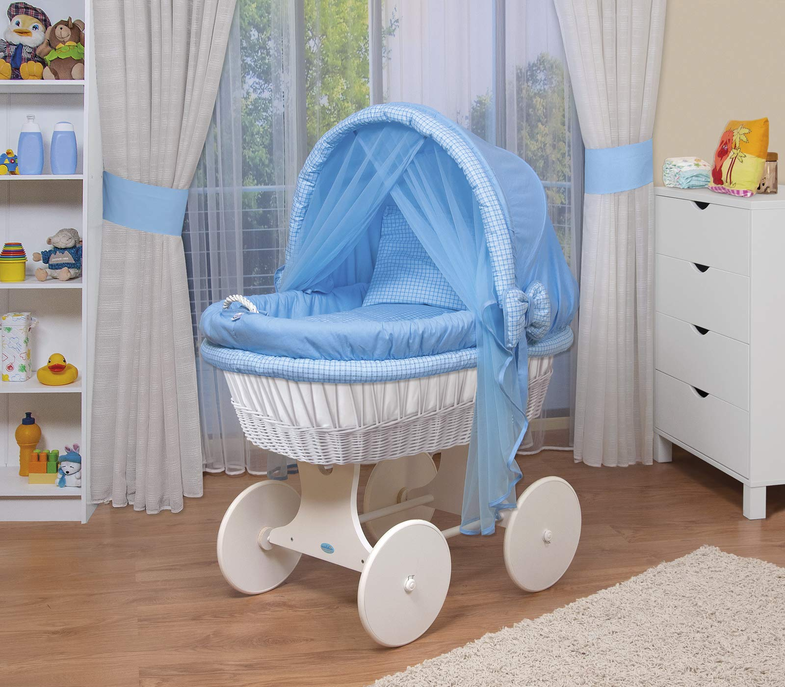 WALDIN Baby wicker cradle,Moses basket,44 models available,white painted stand/wheels,textile colour blue/squared  For more models and colours on Amazon click on WALDIN under the title Bassinet complete with bedding and stand Certified to safety standard EN 1130-1/2 1