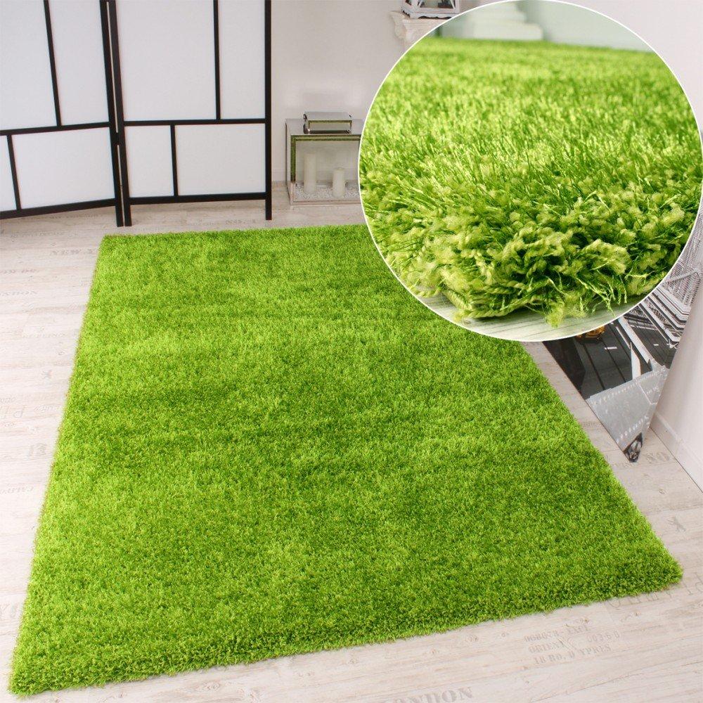 Teppich grün  Shaggy Teppich Hochflor Langflor leicht Meliert Qualitativ u ...