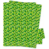 Green Pixel Squares Gift Wrapping Paper- Micro Pixels - 2 Sheets of Giftwrap and 2 gift tags - 70x50cm - By Jonathan Glick De