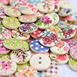 TRIXES 100 X Buttons Assorted 15mm - Colourful Floral Gingham Polka Dot Buttons - Perfect for Sewing and Crafts