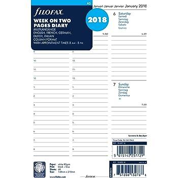 Filofax A5settimana su due pagine 5lingua 2018tallon-agenda