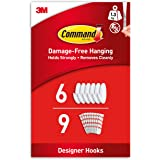 Command Medium Designer Hooks, White - Pack of 6 Hooks and 9 Adhesive Strips - Damage Free Hanging - Holds up to 1.3kg