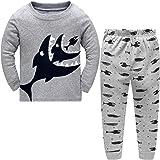 DAWILS Pijama Niño Pijamas de Tiburón Tigre Cocodrilo Tortuga para Niños 2 Piezas Manga Larga Niño Ropa de Algodón Traje Dos