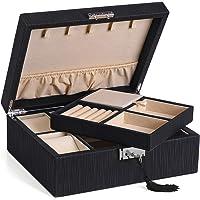 SONGMICS JBC235BK Coffre verrouillable avec Boîte à bijoux de 2 niveaux, Crochets à colliers, Étuis à montres…