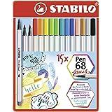 Pennarello Premium con punta a pennello per linee spesse e sottili - STABILO Pen 68 brush - Scatola in metallo da 15 - con 15
