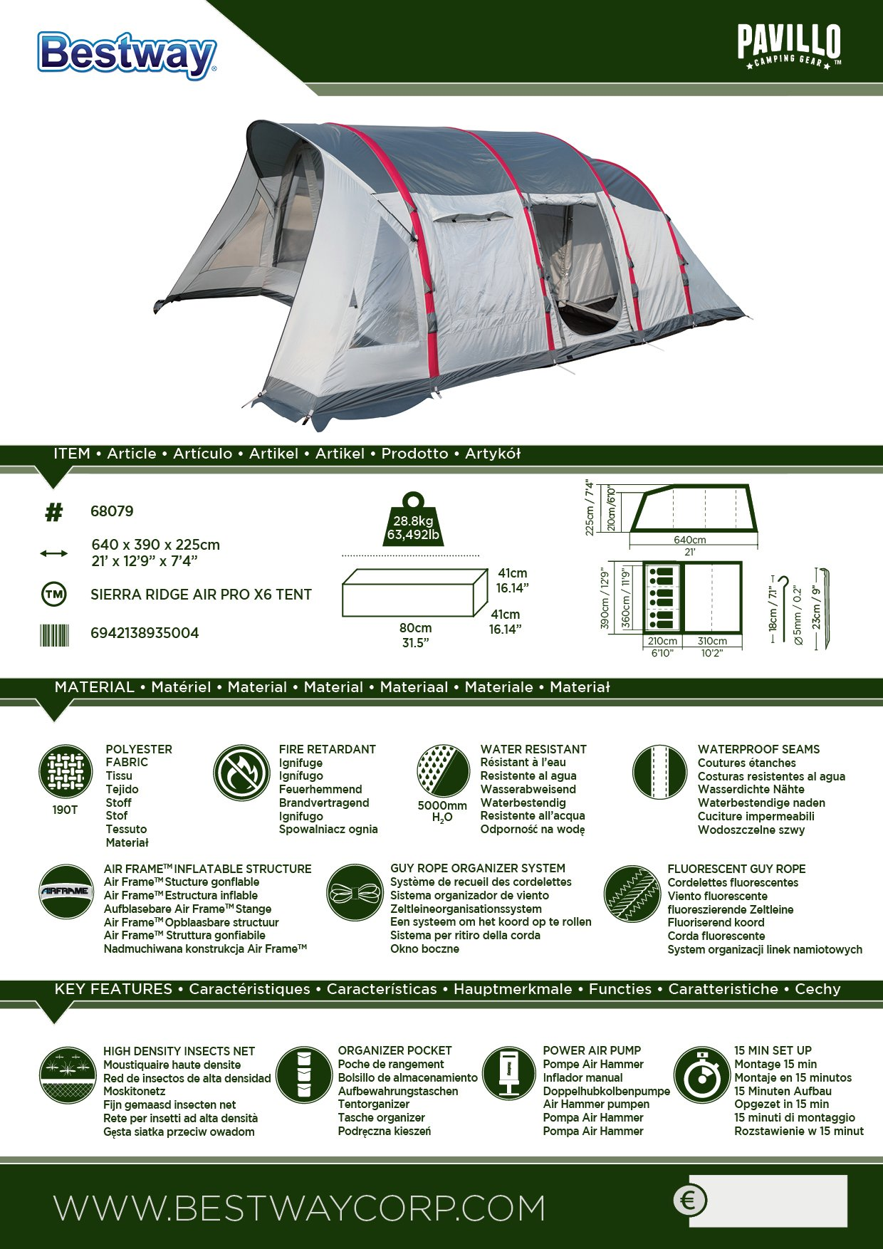 Pavillo BW68079 Bestway Sierra Ridge Air Pro 6 Man Inflatable Camping Tent, Grey, 6 Person