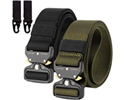 Pack of 2 Unisex Nylon Canvas Belt Quick Release Military Style Shooters Nylon Belt with Metal Buckle Multi-Way
