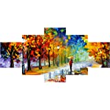 Saumic Craft Set Of 5 Modern Art UV Coated 3D Wooden Wall Painting For Home Decoration Living Room (75 X 43 CM )