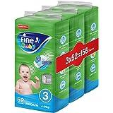 Fine Baby Fast Sorption, Size 3, Medium, 4-9 kg, Three Jumbo Packs, 156 Diapers