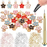 401 Pieces Nail Jewelry Rings with Nail Piercing Tool Hand Drill, Pierced Fingernail Jewel Dangle Nail Art Flower Charms…