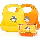 NatureBond Waterproof Silicone Baby Bib for Feeding Babies and Toddlers, Unisex Set of 2 Silicone Baby Bibs (Lemonade…