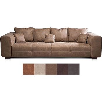 Cavadore Big Sofa Mavericco / Braune Couch Im Modernen Design In Lederoptik  / Inklusive Rückenkissen Und
