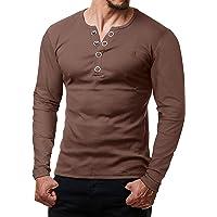 ReRock by Young & Rich - Maglietta a maniche lunghe da uomo, con bottoni, scollo a V, vestibilità slim fit, con bottoni…