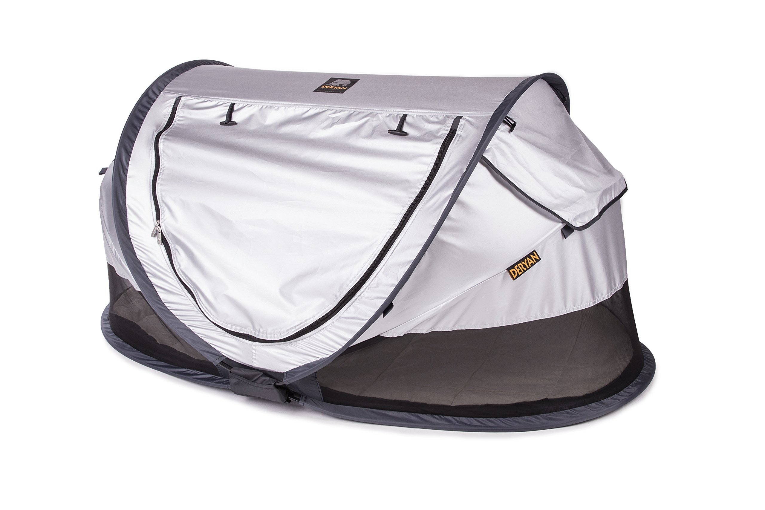Travel Cot Peuter Luxe (Silver) Deryan 50% UV Protection and flame retardant fabric Setup in 2 seconds and a anti-musquito net  2