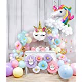 Party Propz Unicorn Theme Supplies Combo - 93Pcs Paper fan, Foil Balloon, Unicorn Head Balloon, Star And Latex Balloon For Gi