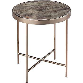 bc30e102f1e5e4 ASPECT - Table Basse Ronde Fino en métal de Couleur Or Rose et Verre à de