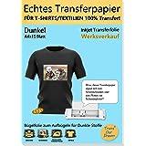 TransOurDream Echte Inkjet Transferfolie,Bügelfolie für Dunkle Textilien,DIN A4X15 Blatt,T-Shirt Papier für Tintenstrahldruck