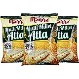 Manna Multi Millet Atta / MultiGrain Atta with 25% Millets, 3kgs (1kg x 3 Packs) 100% Natural Flour.Nutrient Powerhouse