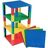 Strictly Briks Pack de 4 Bases con 30 Ladrillos separadores 2 x 2 - Construcción en Forma de Torre - Compatible con Todas Las