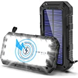 Cargador Solar Movil 26800mAh, [QI Carga Inalambrica] Bateria Externa Movil, [Linterna de 28 Luz Perlas] Powerbank con 3 Modo