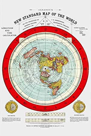Flat Earth Map Gleasons New Standard Map Of The World Large - Large map of earth