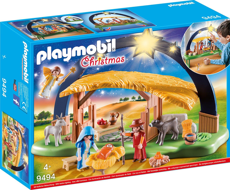 PLAYMOBIL Christmas Belén con Luz y patas plegables, A partir de 4 años (9494)