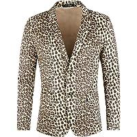 Lars Amadeus Men's Party Animal Leopard Print Blazer Notched Lapel Lightweight Sport Coat Suit Jacket